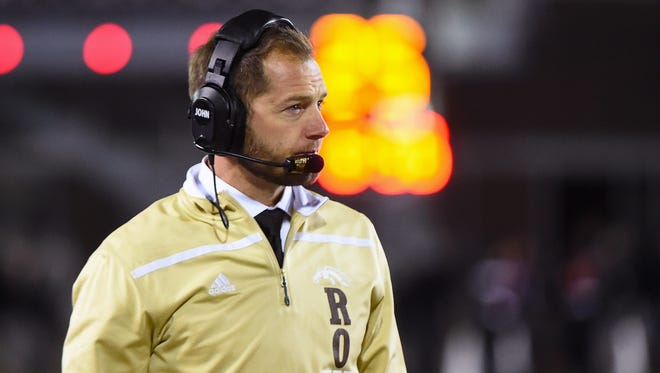 Nov 18, 2015; DeKalb, IL, USA; Western Michigan Broncos head coach P.J. Fleck during the second quarter against the Northern Illinois Huskies  at Huskie Stadium. Mandatory Credit: Mike DiNovo-USA TODAY Sports