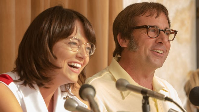 Emma Stone as Billie Jean King and Steve Carell as Bobby Riggs in 'Battle of the Sexes.'