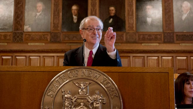 Chief Judge Jonathan Lippman delivers his State of the Judiciary at the Court of Appeals this month in Albany. Lippman suggests courts release transcripts and documents from grand jury proceedings if there is no indictment.