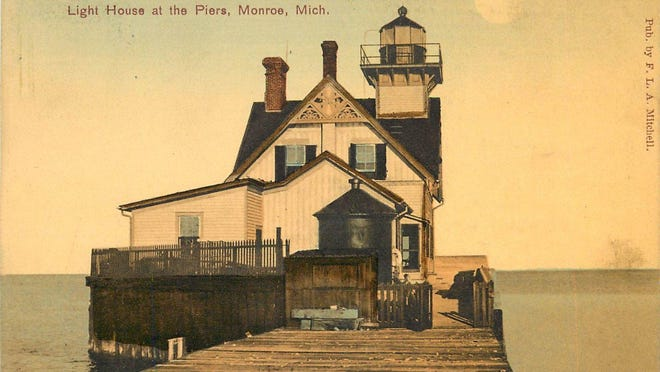 The Piers Park Lighthouse, circa 1915. This was the third of the three Monroe lighthouses.