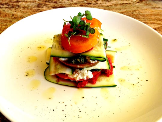 The heirloom tomato lasagna at Cider Press Cafe features