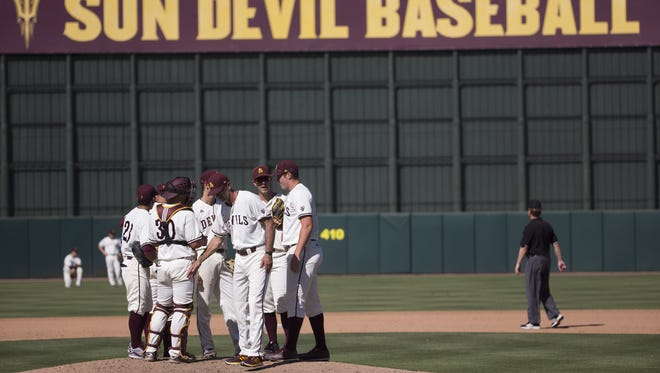 ASU baseball head coach Tracy Smith spent a lot of time on the mound switching out pitchers in Sunday's 31-9 loss to USC.