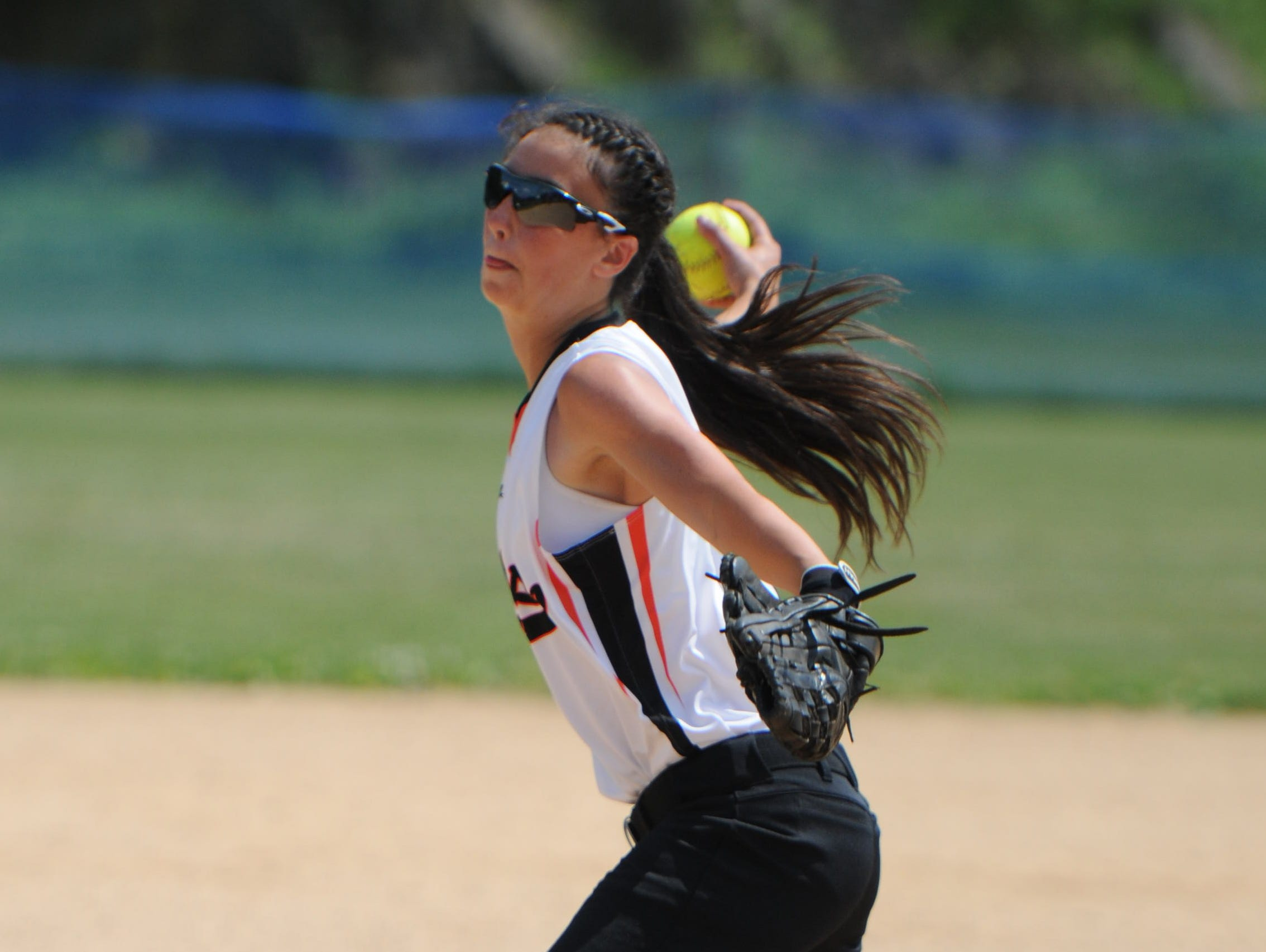 Marlboro High School's Taylor Felicello pitches during the Section 9 Class B final against Ellenville in Rhinebeck on Saturday.