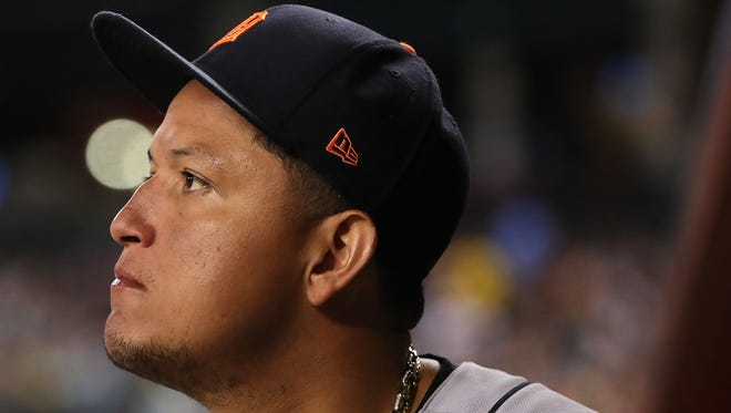 Miguel Cabrera of the Detroit Tigers stands in the dugout during a game in 2017. On Aug. 7, in Orlando's Orange County Circuit Court, Cabrera's ex-mistress of five years, Belkis Rodriguez, hit him with a paternity suit.