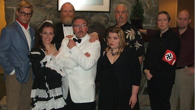 "From left: Nick DeJong, Michelle Fritsche, Erik Olson, Scott Fritsche, Any Heitmann, James Hawkins, Stacey Drenk and Dan Drenk  in ""The Last Laugh"" written by Dan Drenk."