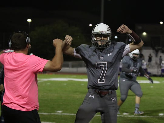 Rancho Mirage's David Talley celebrates a first half
