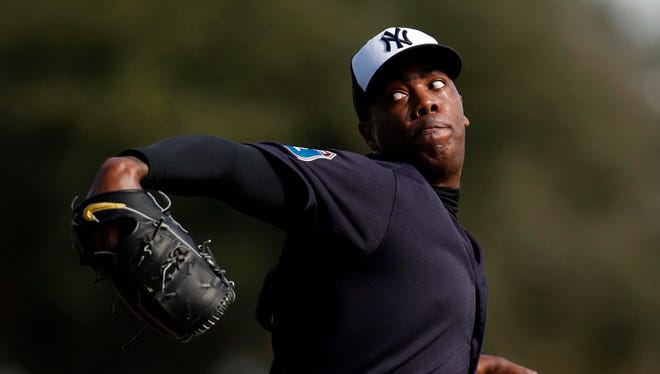 Aroldis Chapman was acquired by the Yankees in a trade.