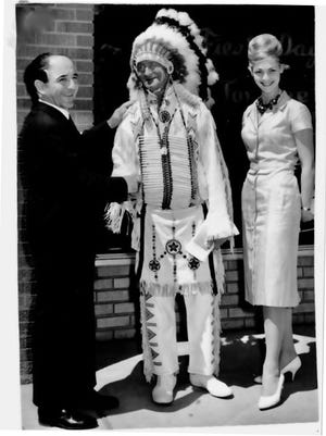 Inese Lukins Bohorquez was proclaimed a Native American Princess during the 1960 Fiesta Days celebration in Montevideo. She and Uruguayan Foreign Minister Jose Zorilla de San Martin (at left) were Uruguay's goodwill ambassadors. (Photos courtesy of Carlos Bohorquez