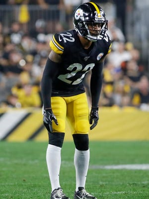 FILE - In this Monday, Sept. 30, 2019, file photo, Pittsburgh Steelers cornerback Steven Nelson (22) plays during the first half of an NFL football game against the Cincinnati Bengals in Pittsburgh. Joe Haden and Steven Nelson became one of the NFL's most effective cornerback tandems in 2019. The Pittsburgh Steeler veterans believe it's just the start of a productive partnership. (AP Photo/Don Wright, File)