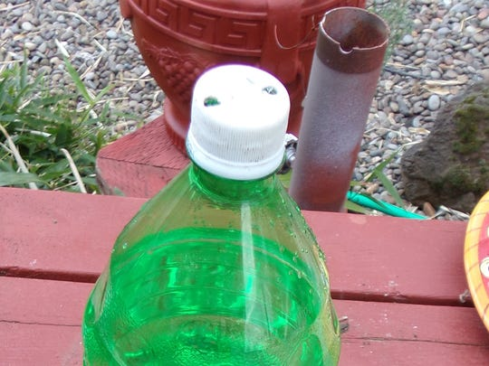 A couple small holes drilled into the lid of a plastic bottle will allow water to slowly drip out.