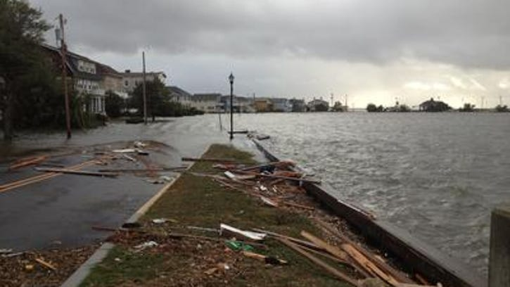 Coastal damage and flooding in Mantoloking two days after superstorm Sandy struck the coast
