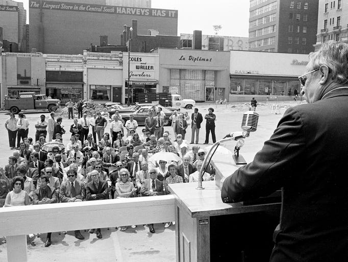 Metro Mayor Beverly Briley speaks to the crowd attending the groundbreaking of Tennessee's new state office building and performing arts center on July 1, 1974, on the site of the former Andrew Jackson Hotel and Elks Club.