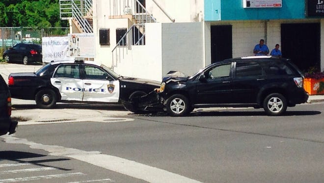 A Guam Police Department officer sustained minor injuries in a crash Monday morning near the Pizza Hut on Marine Corps Drive in Tamuning.