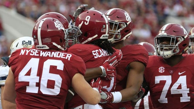 Rising sophomore Bo Scarbrough will look to replace Derrick Henry in 2016..