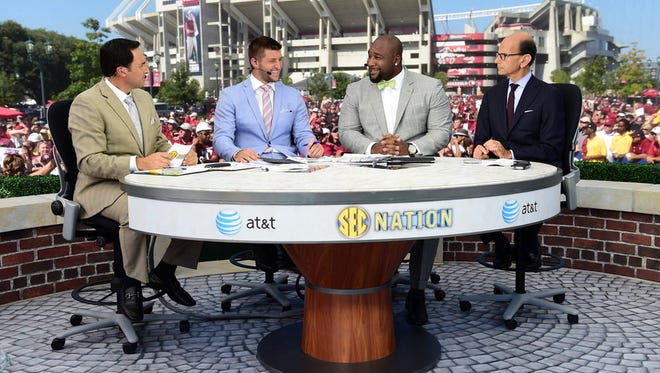 University of South Carolina: Joe Tessitore, Tim Tebow, Marcus Spears and Paul Finebaum on the set of SEC Nation (Photo by Phil Ellsworth / ESPN Images)
