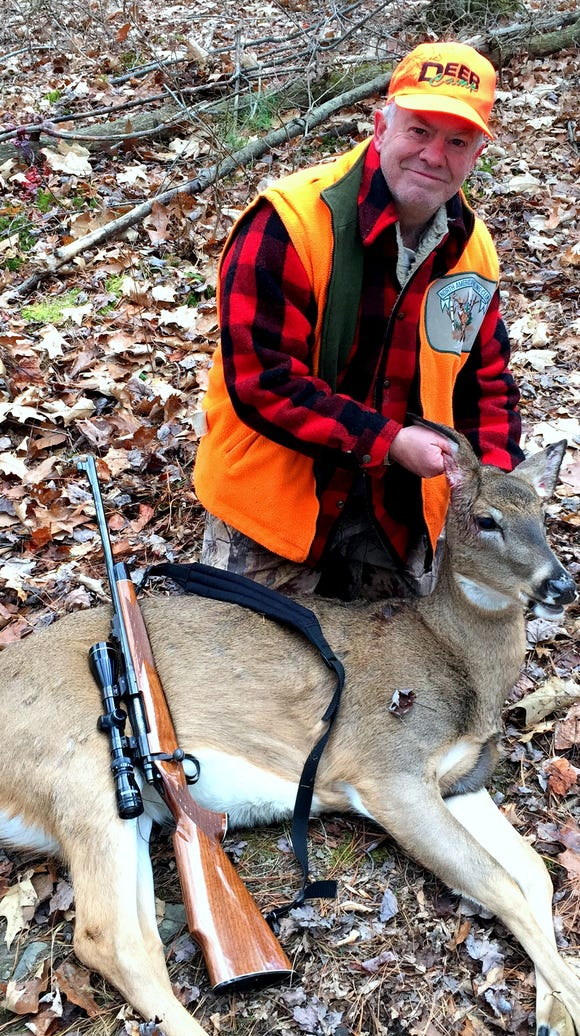 I drilled this big doe Sunday as it was crossing a