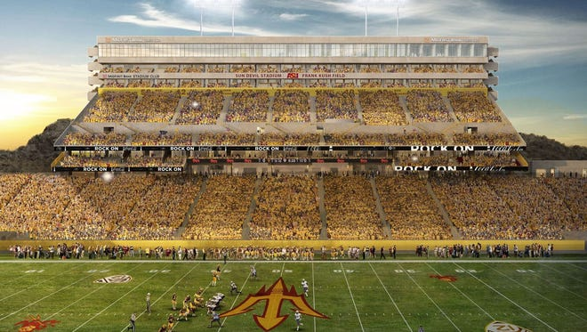 Arizona State is floating the idea of changing the name of rebuilt Sun Devil Stadium. Choices in a fan survey include Sun Devil Odeum and Sun Devil Performance Lab.