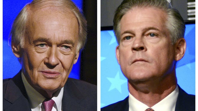 This Oct. 5 photo combo shows incumbent U.S. Sen. Edward Markey, D-Mass., left, and Republican challenger Kevin O'Connor, right, who are seeking to represent Massachusetts in the the Senate in the Nov. 3 general election.