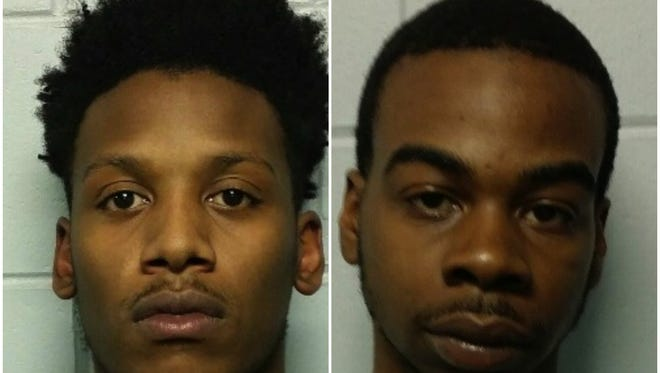 Tyreaf Burton-Spellman (left) and Lance Matthews are charged with robbing a Lumberton bank on Tuesday.