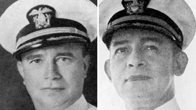 Cassin Young (left) was captain of the USS Vestal, a repair ship. Franklin Van Valkenburgh (right) was a captain of the USS Arizona.
