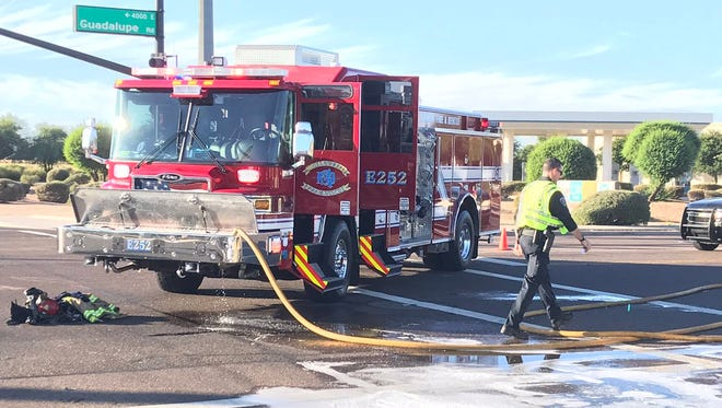 One person was taken to a trauma hospital after a fiery car crash off of Recker and Guadalupe Roads.