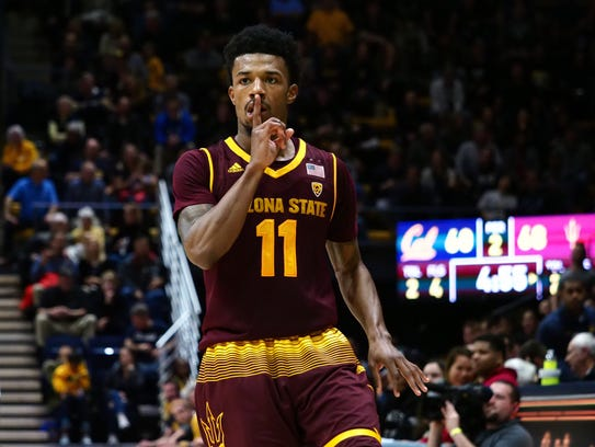 ASU guard Shannon Evans tells the Cal student section to be quiet after nailing a late 3-pointer in Saturday's win.