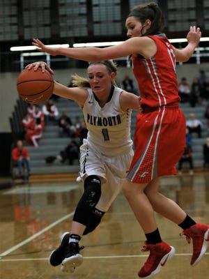 Plymouth's Elle McCaslin (1) tries to dribble past Canton's Ashley Criscenti during Friday night's game.