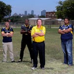 Texas Wesleyan football players are shown during the 1940-41 season.