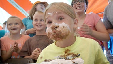 Sadie Yessler took second place in her age division at the 2015 Spree pie-eating contest.