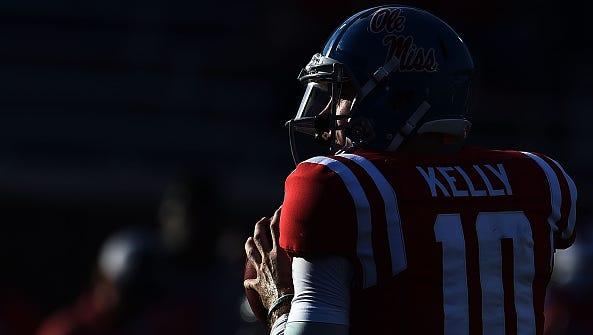 Quarterback Chad Kelly warms up before Ole Miss' game