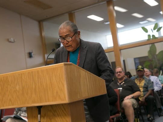 "Shiprock Chapter President Duane ""Chili"" Yazzie addresses members of the Farmington City Council Tuesday at City Hall."
