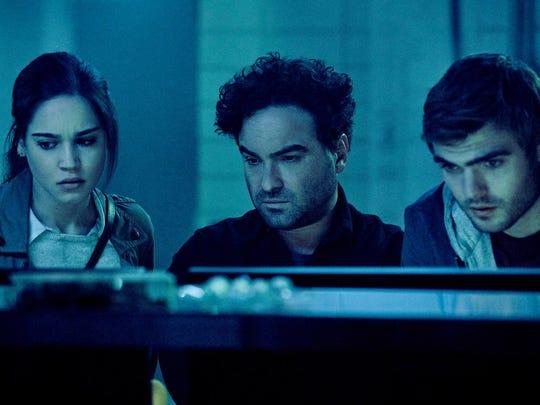 "Johnny Galecki, Alex Roe, and Matilda Anna Ingrid Lutz in ""Rings."""