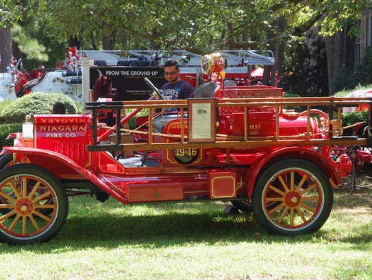 A 1916 fire truck on display at the 36th annual Glasstown
