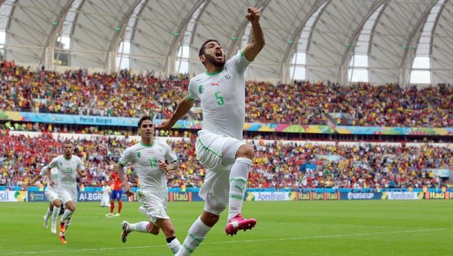 Algeria's Rafik Halliche (5) celebrates after scoring his side's second goal during the group H World Cup soccer match between South Korea and Algeria at the Estadio Beira-Rio in Porto Alegre, Brazil, Sunday, June 22, 2014.