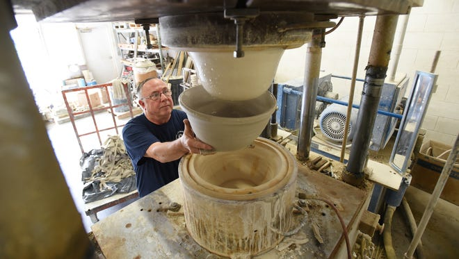 Tom Drabik has worked in the pottery industry for 50 years. Drabik has performed nearly every task at Ohio Stoneware and installed many of the machines being used.