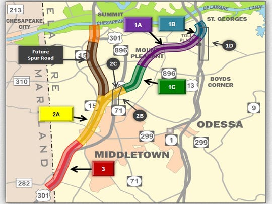 DelDOT opened bids for section 1A of the U.S. 301 toll road Tuesday. A second bid-opening for section 2A is scheduled for Oct. 20. Construction could start as early as Dec. 31 on the 14-mile, four-lane highway's mainline, connecting the Maryland line southwest of Middletown with Del. 1 at the Roth Bridge.