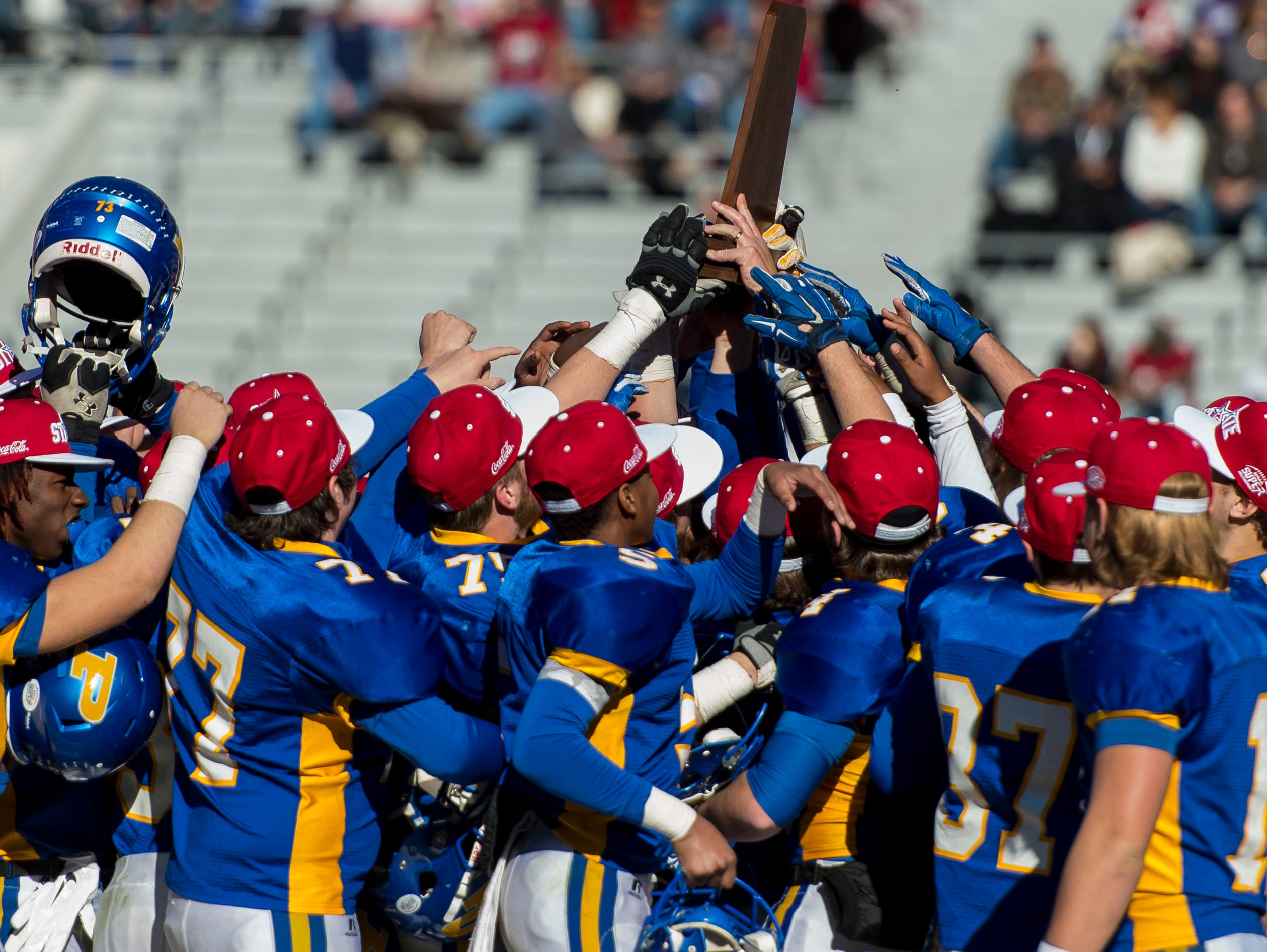 Piedmont celebrates their win over Bayside Academy in the AHSAA Super 7 Class 3A high school football championship game, Thursday, Dec. 3, 2015, at Bryant-Denny Stadium in Tuscaloosa, Ala. (Vasha Hunt/AL.com via AP) MAGS OUT; MANDATORY CREDIT