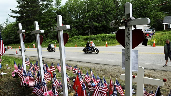 In this July 6, 2019 photo, motorcyclists participate in a ride in Randolph, N.H., to remember seven bikers killed there in a collision with a pickup truck.