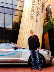 NASCAR driver Chris Buescher wheeled a Ford Mustang GT to the Louisville Slugger Museum on Wednesday.