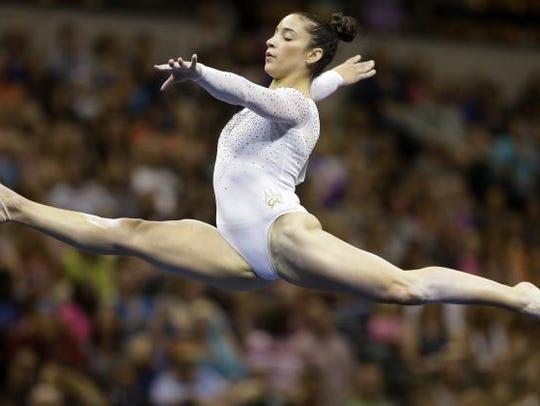 Aly Raisman, above, has been a mentor to West Manchester