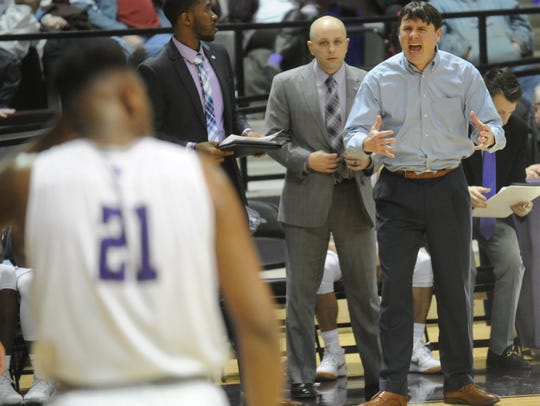 ACU coach Joe Golding screams at his team during the