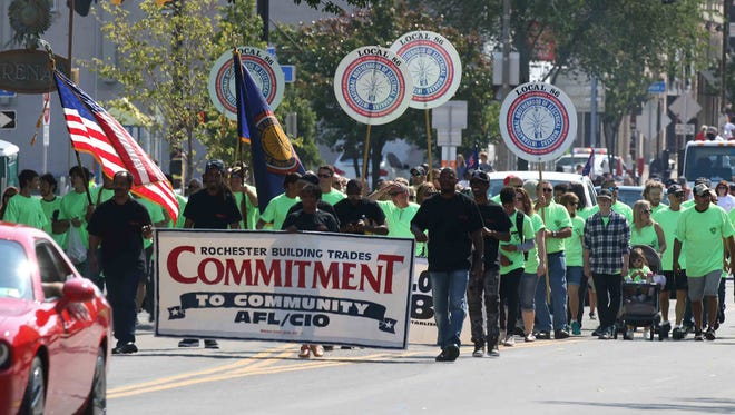 Labor unions made up a large portion of marchers during the Labor Day Parade in Rochester.