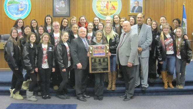 Members of the national champion North Rockland cheerleading team were honored Monday by the Haverstraw Town Board.