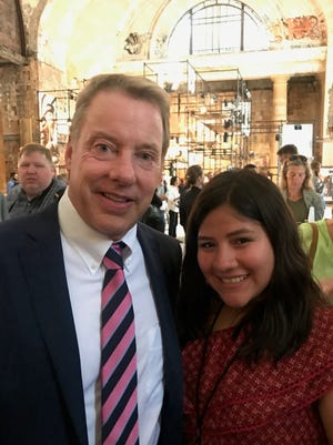 Bill Ford and Alondra Alvarez at Michigan Central Station on Tuesday.