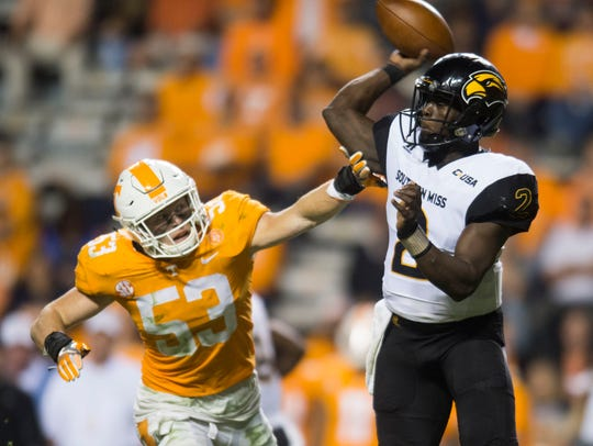 Southern Miss quarterback Keon Howard (2) is pressured