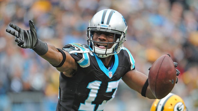 Carolina Panthers wide receiver Devin Funchess (17) celebrates his long reception against the Green Bay Packers at Bank of America Stadium in Charlotte, N.C., on Nov. 8, 2015.