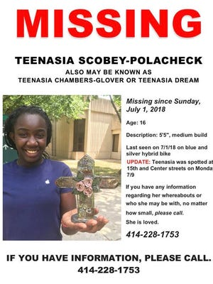 The flier members of the search party for Teenasia Scobey-Polacheck distributed on the evening of Wednesday. July 11. Teenasia has been missing since July 1, anyone with information about her whereabouts should call the Glendale Police Department at 414-228-1753