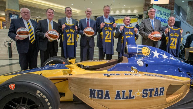 Pacers Sports & Entertainment vice chairman Jim Morris,left, Indianapolis mayor Joe Hogsett, Pacers president Kevin Pritchard, NBA commissioner Adam Silver, Pacers owner and CEO Herb Simon, Larry Bird, Indiana Governor Eric Holcomb and PS&E president & COO Rick Fuson,right, announced the NBA All-Star game will be coming to Indianapolis in the year 2021Wednesday, Dec13, 2017.