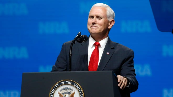 Vice President Mike Pence smiles as he speaks at the National Rifle Association Leadership Forum in Dallas, Friday.
