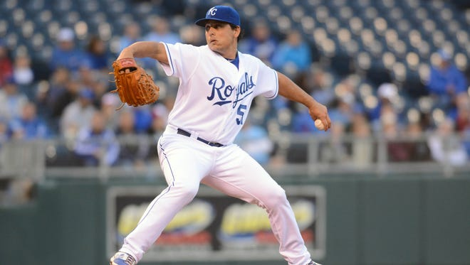 Kansas City Royals starting pitcher Jason Vargas delivers a pitch in the first inning against the Tampa Bay Rays at Kauffman Stadium.